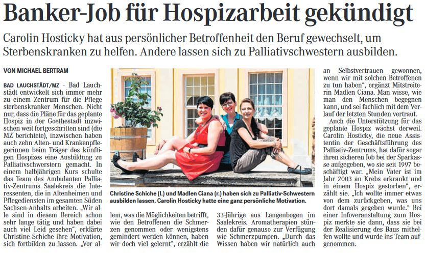 Banker-Job für Hospizarbeit gekündigt