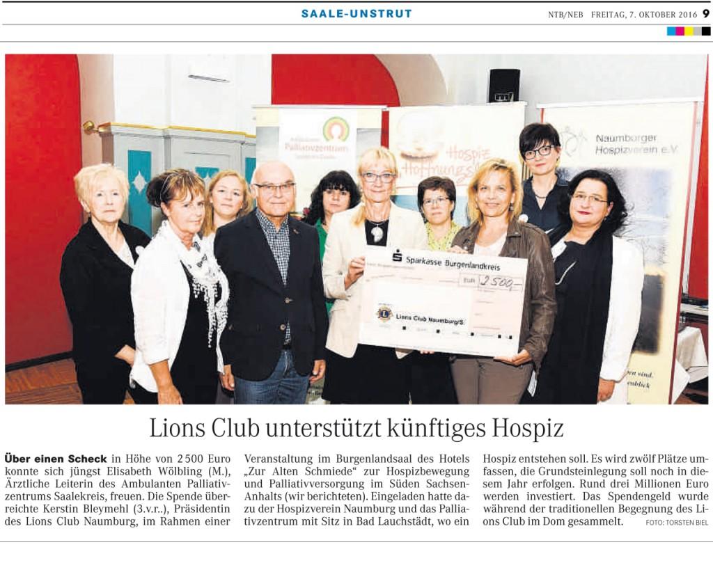 Lions Club unterstützt künftiges Hospitz in Bad Lauchstädt